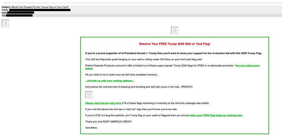 A phishing message targeting Trump supporters with a free Trump 2020 yard flag