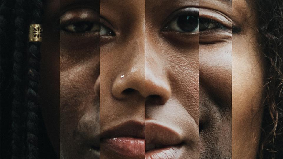 Faces of a Black woman and man as reflected in fragmented mirrors or prisms.