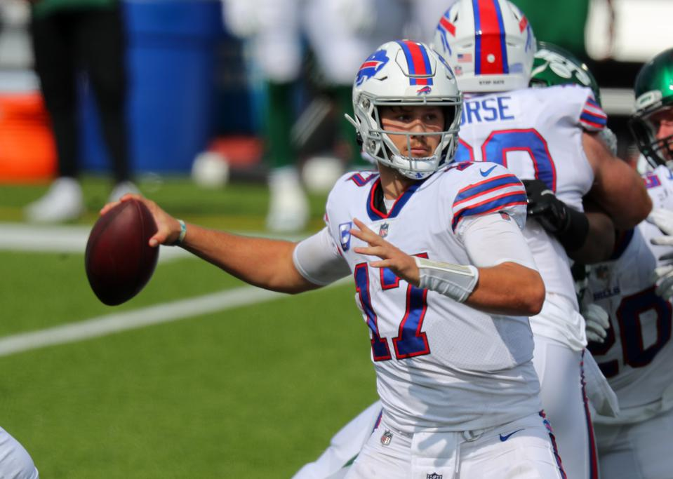 Josh Allen threw for over 300 yards against the New York Jets.