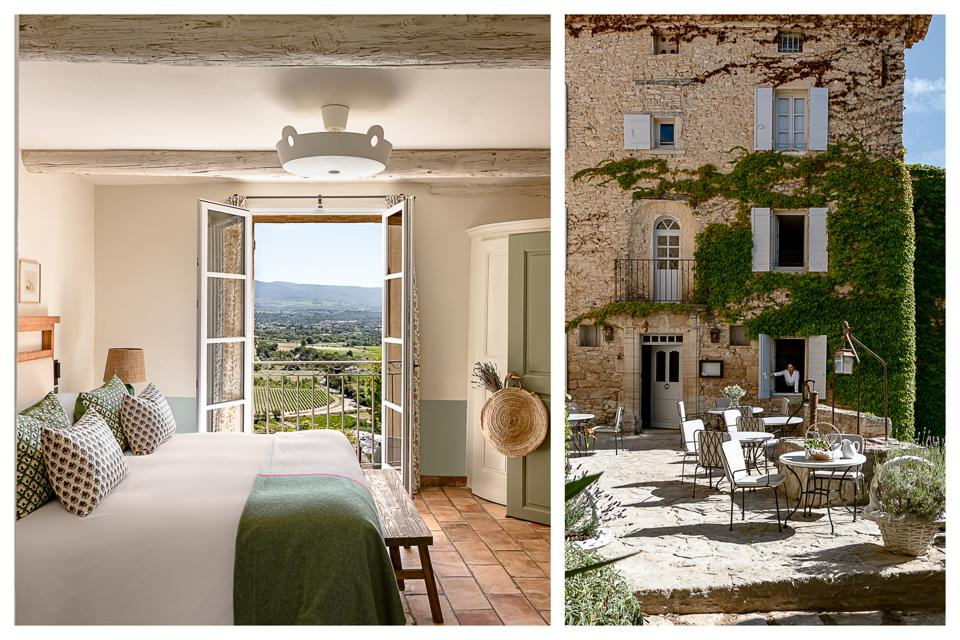 The view of the surrounding vineyards from one of the guest rooms and the lobby terrace.