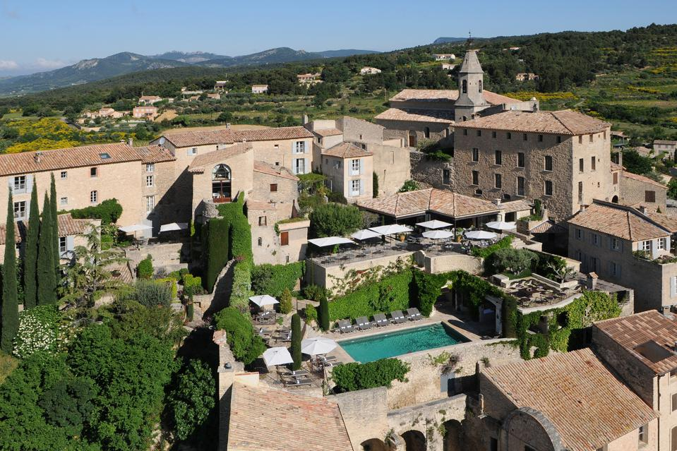 A bird's eye view of luxury hotel Crillon Le Brave tucked in a medieval hamlet in Provence, France.