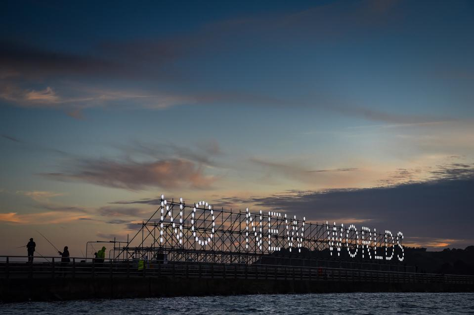 Artwork lights up Portsmouth harbour to commemorate the 400th anniversary of the Mayflower