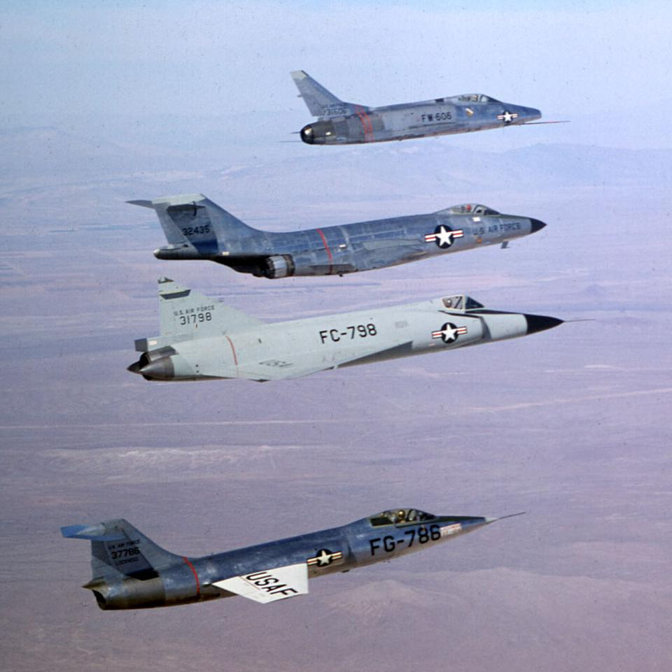 American ″Century Series″ fighters including (top to bottom) the F-100, F-101, F-102, and F-104.