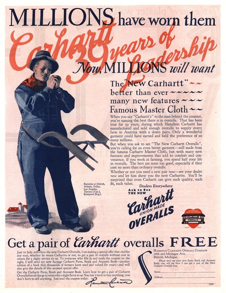 Vintage Carhartt Overalls Ad