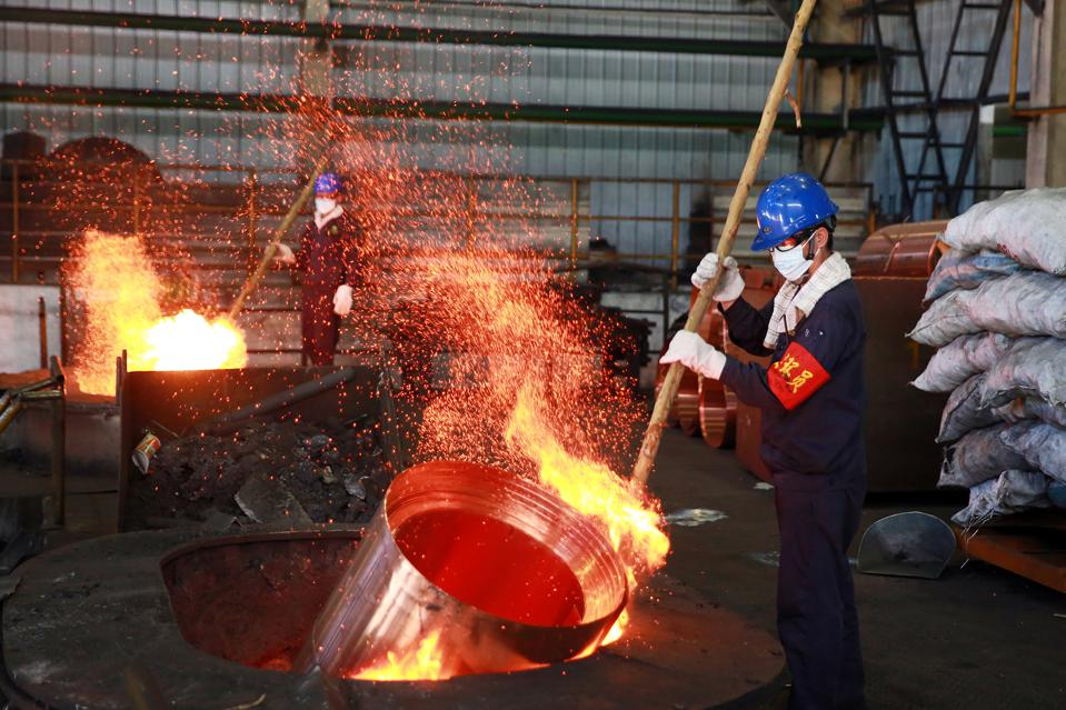 The smelter is melting copper in Jinhua,Zhejiang,China on 23th July, 2020