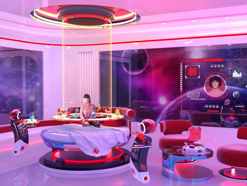 Future space hotel room rendering.