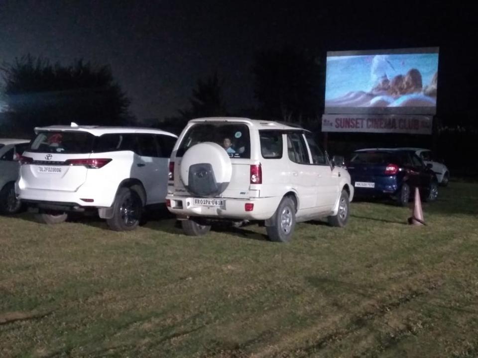 Sunset Cinema Club in Gurgugram, India, during a screening of Akshay Kumar's Hera Pheri in September 2020.