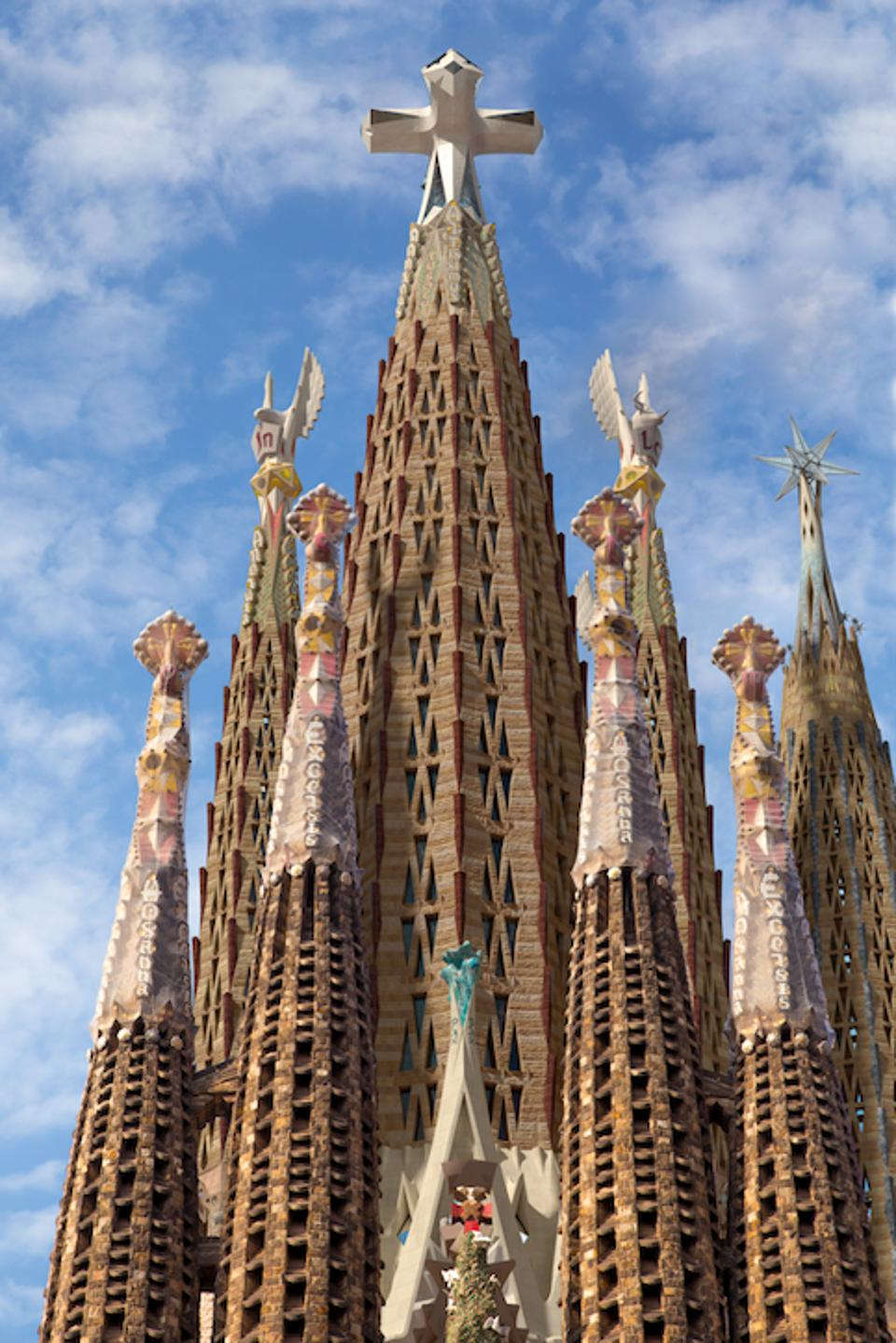 Central towers of La Sagrada Família temple in Barcelona