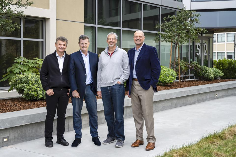 Snowflake CEO Frank Slootman, second from left, and cofounder Benoit Dageville.