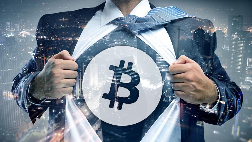 Bitcoin businessman double exposure