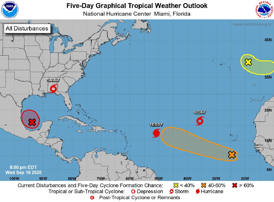The National Hurricane Center's tropical weather outlook on September 16, 2020.