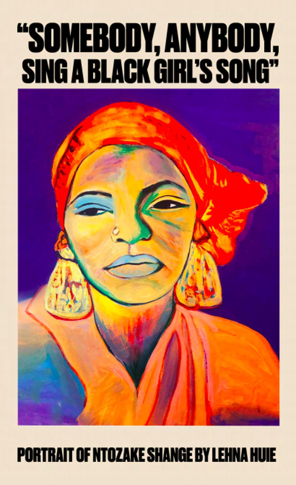 An uplifting quote by and a portrait of Ntozake Shange.