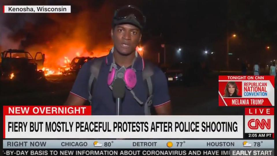 CNN's infamous ″mostly peaceful″ fake news chyron from riots in Kenosha, Wisconsin