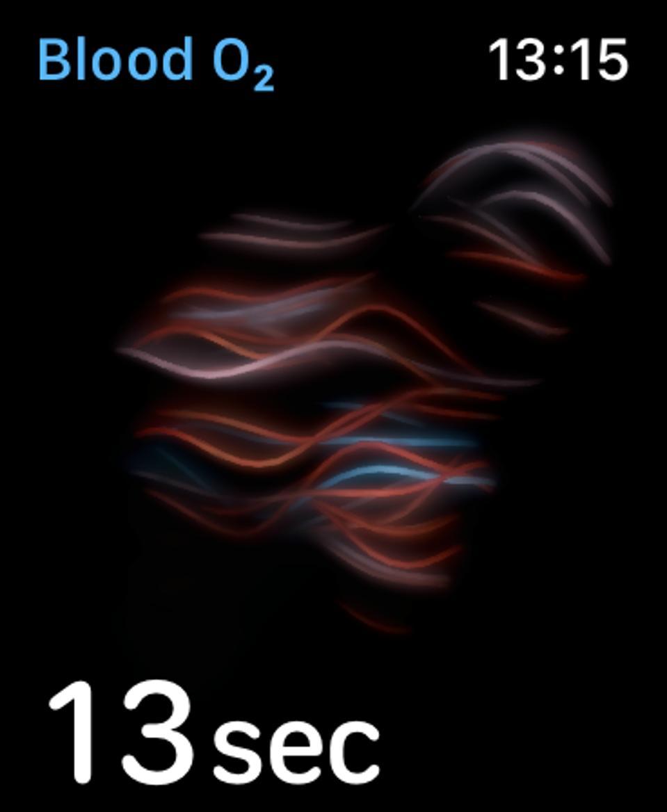 Blood oxygen monitoring on Apple Watch Series 6.