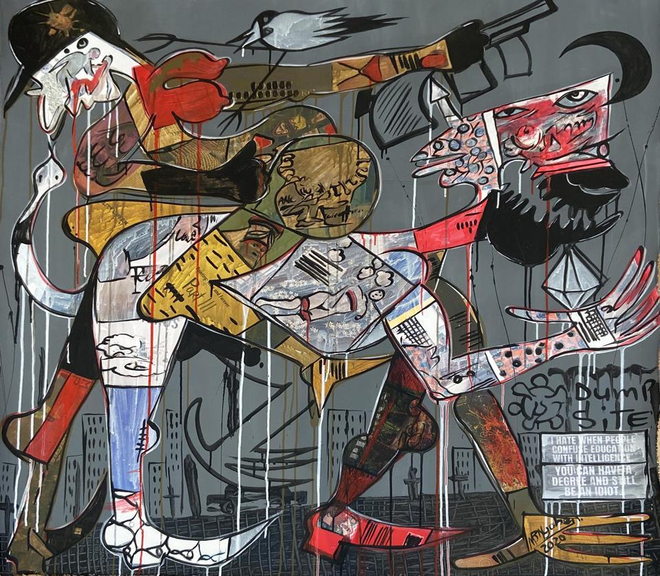 Blessing Ngobeni (b. 1985, Tzaneen, South Africa), 'Cursed... Born I,' 2020.