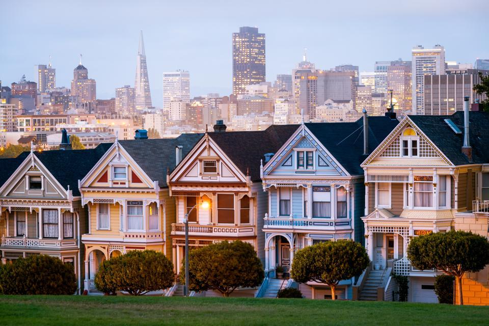 Sunset, Painted ladies, San Francisco, California, America
