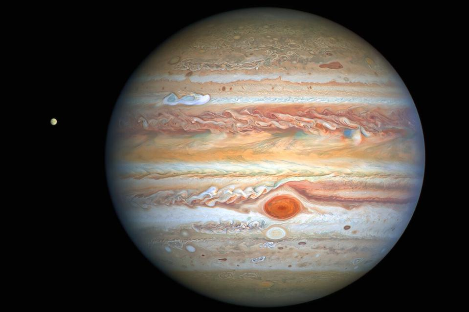 This latest image of Jupiter, taken by the NASA/ESA Hubble Space Telescope on 25 August 2020, was captured when the planet was 653 million kilometres from Earth. Hubble's sharp view is giving researchers an updated weather report on the monster planet's turbulent atmosphere, including a remarkable new storm brewing, and a cousin of the Great Red Spot changing colour — again. The new image also features Jupiter's icy moon Europa.