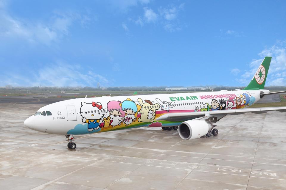 A jet painted with Hello Kitty characters