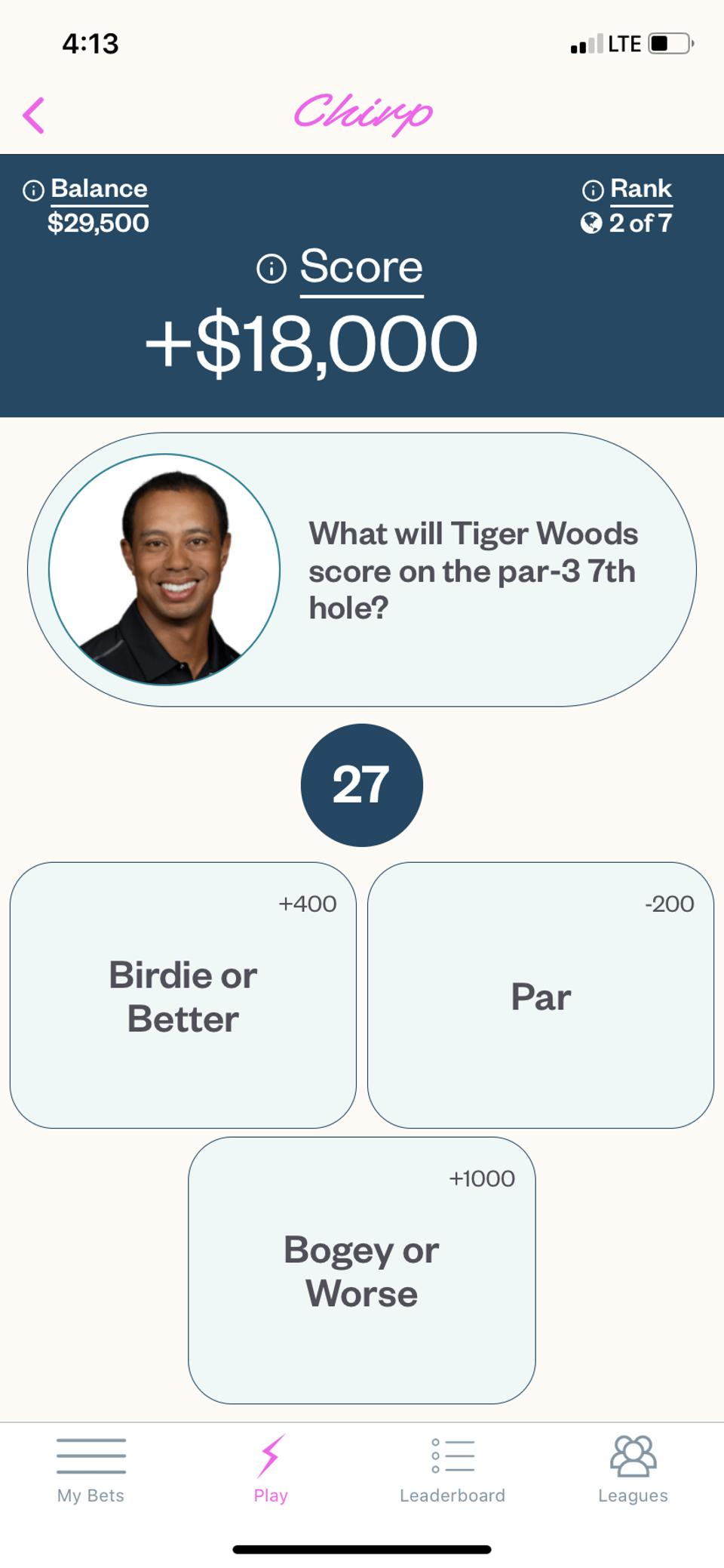 the live betting screen on golf gaming app Chirp