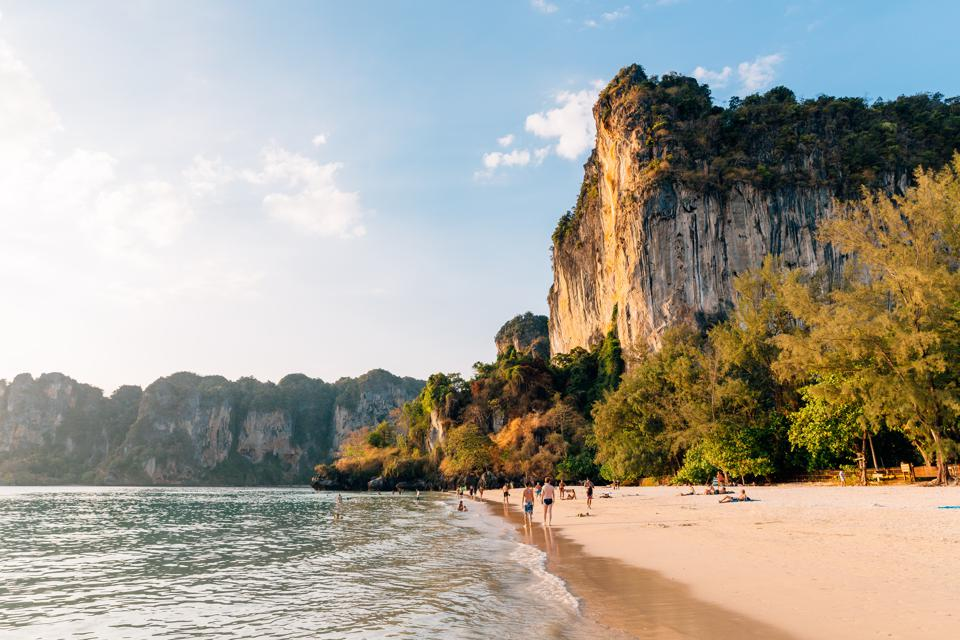 Railay beach at sunset, Krabi, Thailand