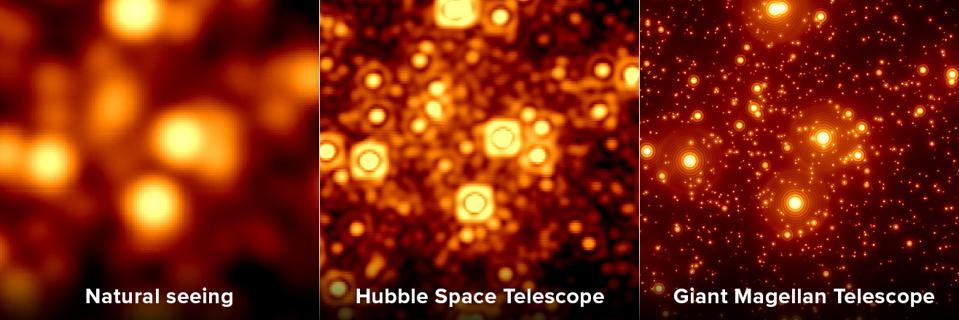 A comparison between natural seeing, Hubble, and GMT with adaptive optics.