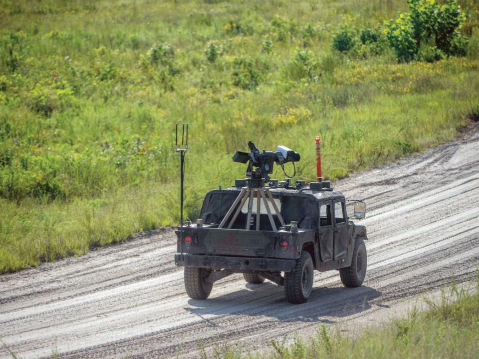 A Humvee equipped with sensors for the Army's Robotic Wingman program.