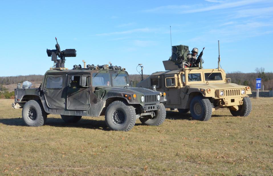 Robotic Wingman Humvees.