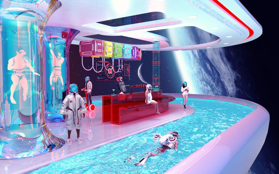 Futuristic people swimming on space station.