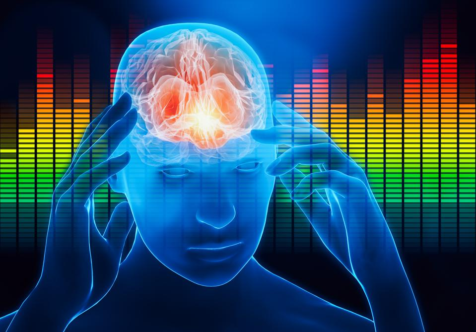 Male portrait with hands touching his temples with audio equalizer on the background. Impact of the sound, the music or the noise on the human brain. Cerebral activity, music, headache conceptual 3d rendering illustration with copy space.
