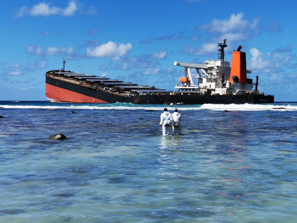 13 August 2020: just a month ago, the large iron ore vessel was on the coral reefs of Mauritius.  Now it is in pieces with the front section discarded in an unknown location.