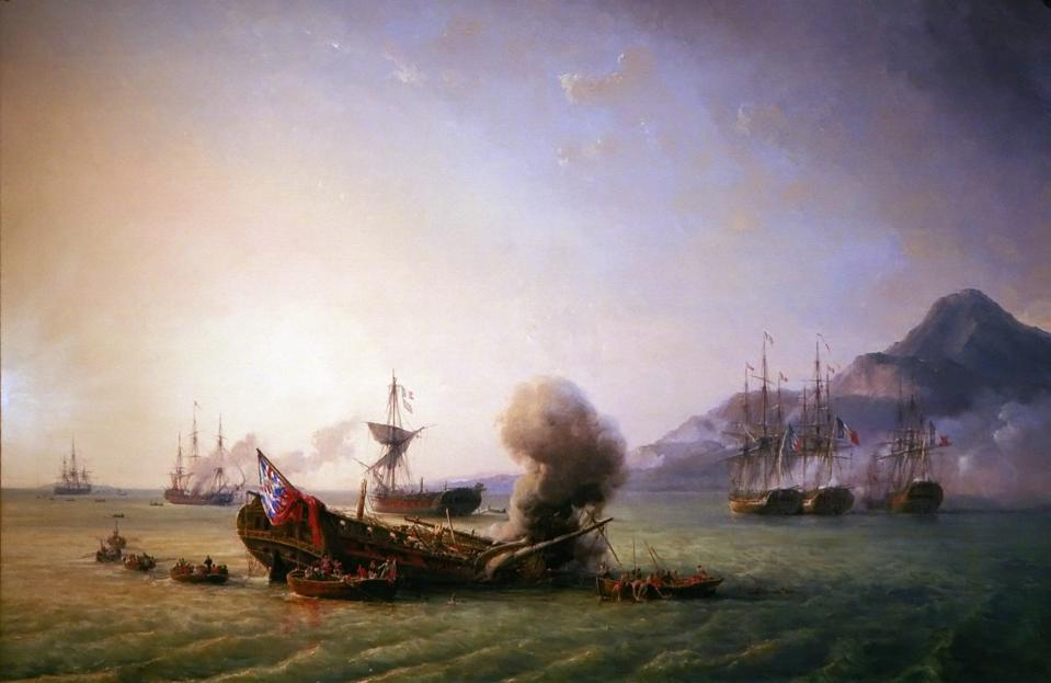 Painting of the famous 1810 Battle of Grand Port between Britain and France showing the HMS Magicienne being scuttled by fire HMS Sirius being scuttled by fire in Old Grand Port. This is where the oil spill impacted.