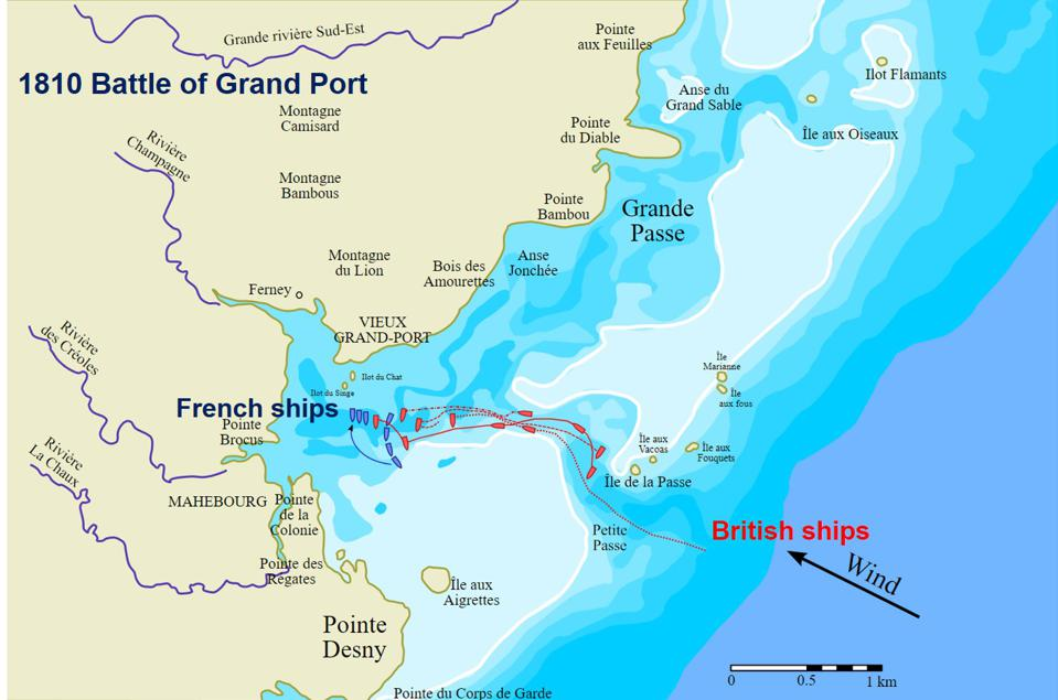 Battle of Grand Port (1810).  The battle between British and French ships defined Mauritius and is featured on the Arc de Triomphe.  It is in this location that the Wakashio split its heavy engine fuel oil