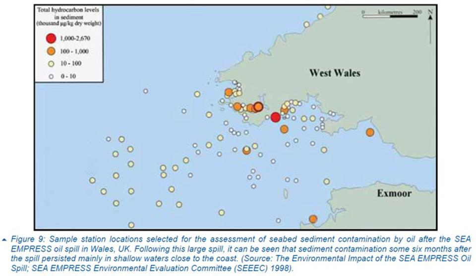 ITOPF guidance shows sampling locations into the ocean for the 1996 spill from the Sea Empress.  Why was the sample recommendations not made in Mauritius?