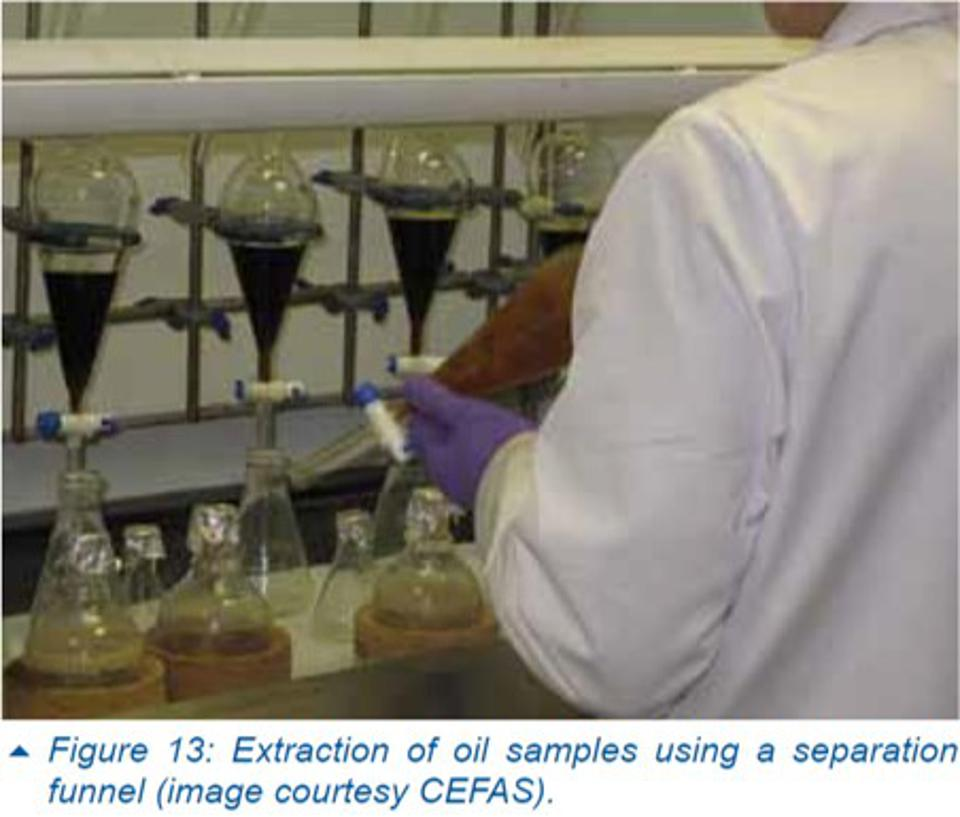 The ITOPF TIP14 paper even shows how oil should be extracted for sampling using a separation funnel.  Why was this not advised broadly in Mauritius?