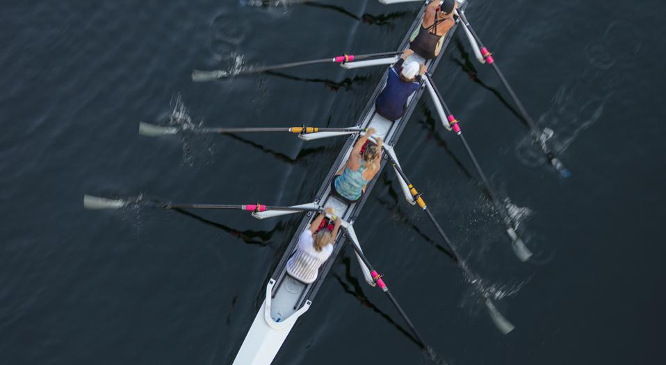 Female crew racers rowing, high angle view, Lake Union, Seattle, Washington, USA.