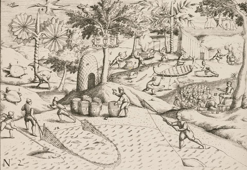 Dutch sailors fishing and building boats, 1598.
