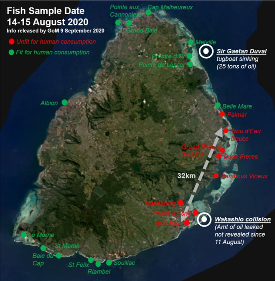 Number of fish sample sites by Government of Mauritius. None have been identified in the ocean to identify impact of ocean currents.