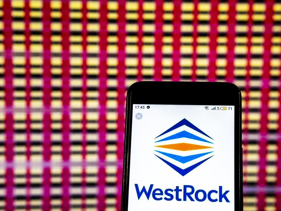 WestRock Company logo seen displayed on a smart phone