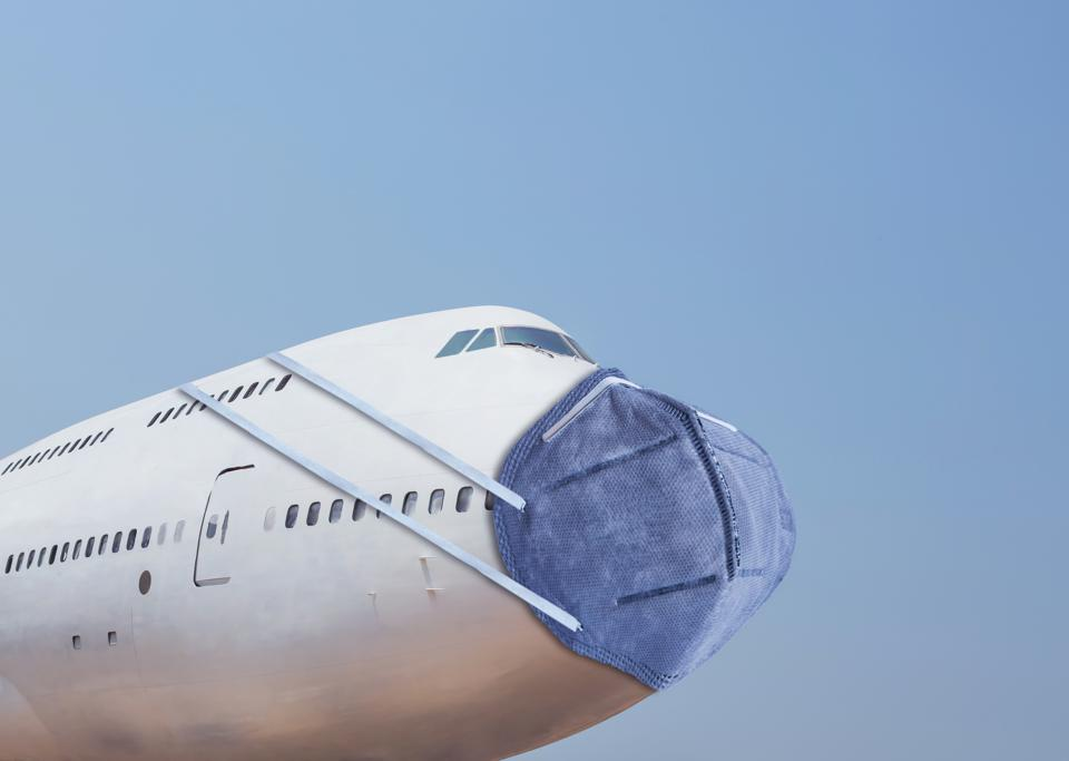 Airplane wearing face mask shows in a funny way how the virus has hurt the economy.