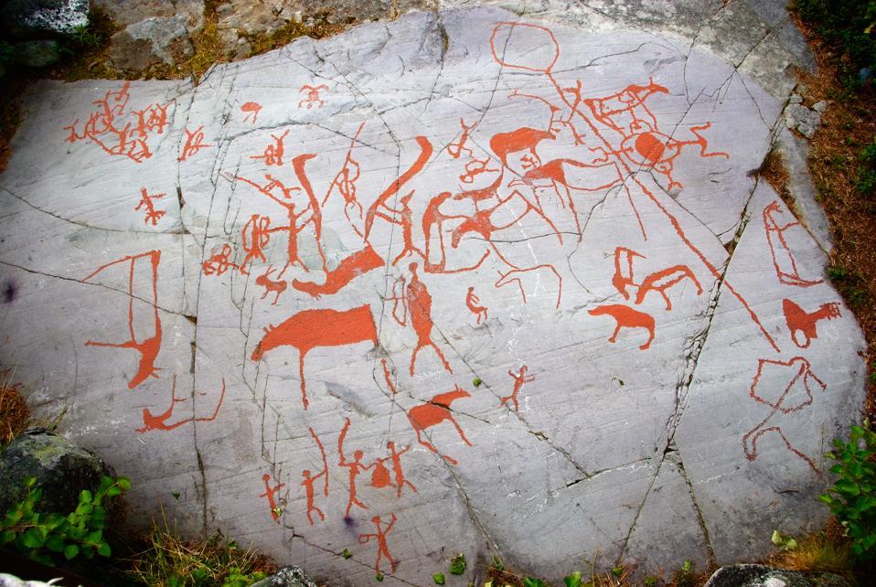 Prehistoric rock carvings near Alta, northern Norway.