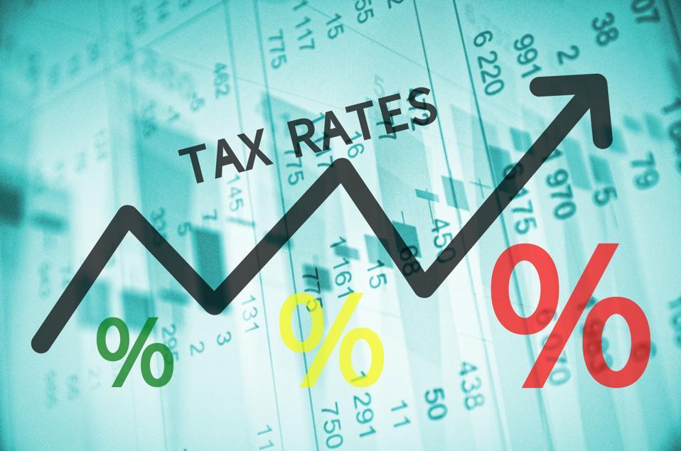 Black arrow shows increasing tax percentages