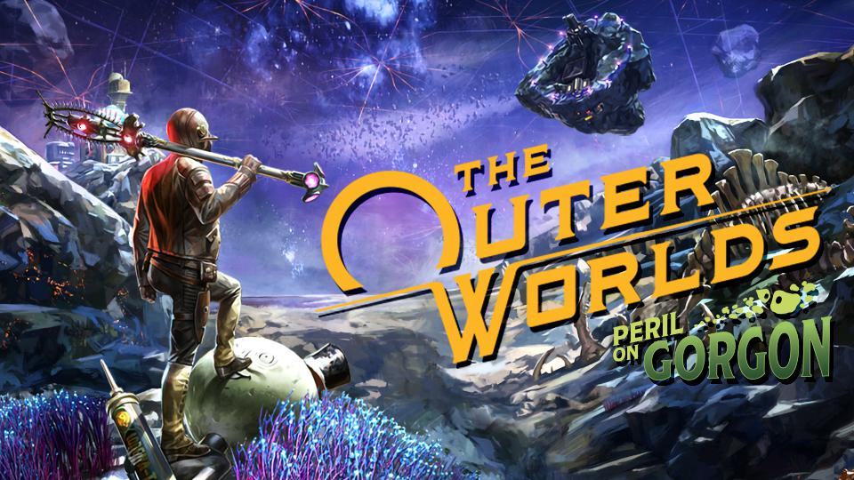 The logo for the Peril on Gorgon DLC for The Outer Worlds