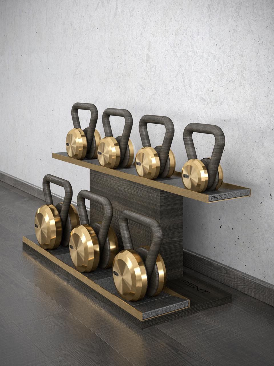 Kettlebells made with bronze and bog oak.