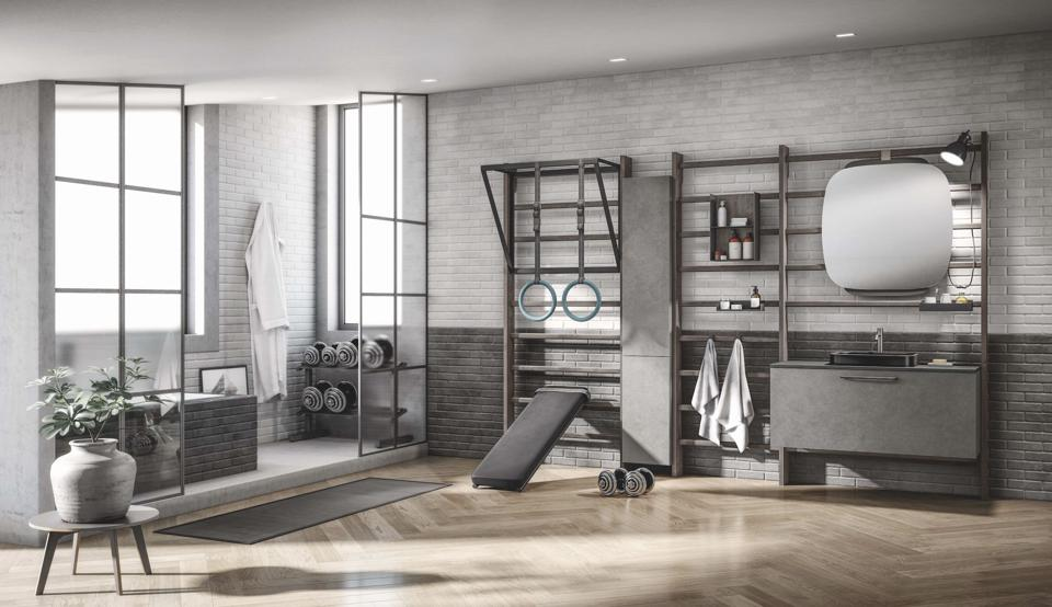 A monochrome bathroom-gym setup.