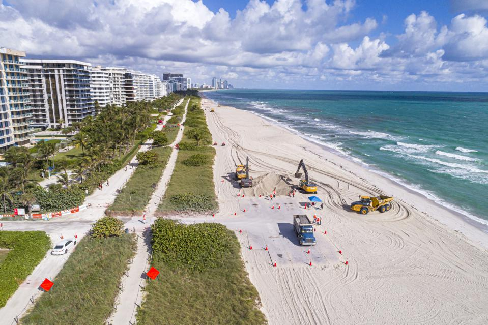 Florida, Miami, Aerial view of beach restoration to fight climate change