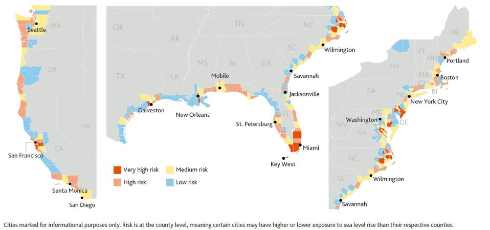 Risk from sea level rise at county level