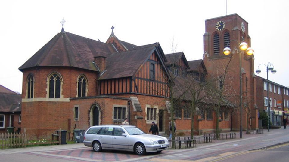All Saints' parish church, Shenley Road, Borehamwood, Hertfordshire, seen from the north