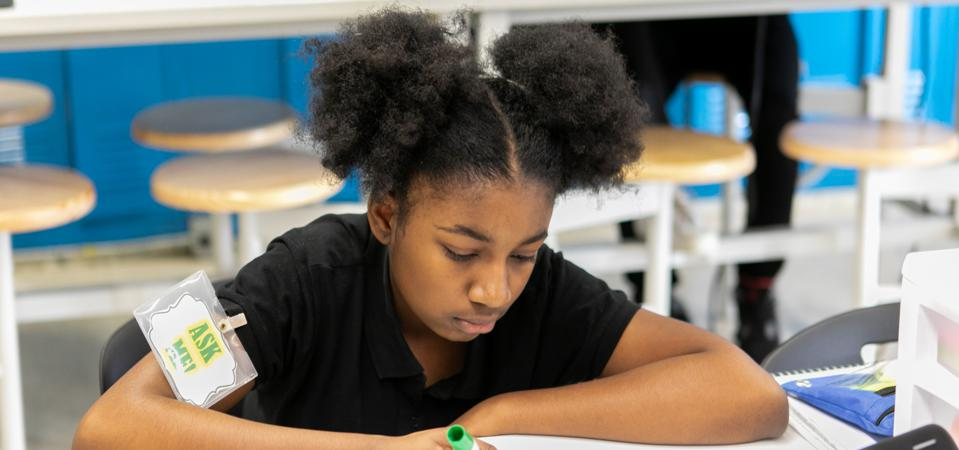 An eighth-grade student at Chicago's Ashburn Elementary School.