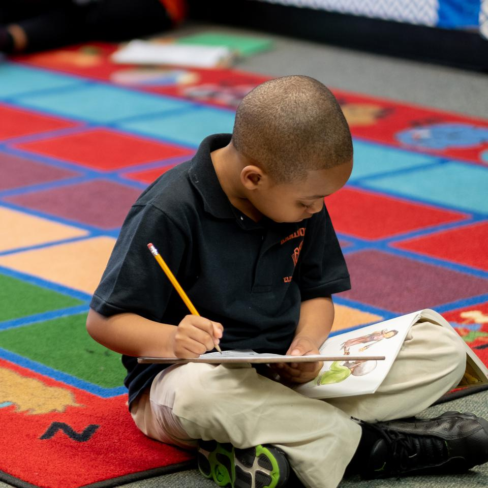 A student at Randolph Elementary School.