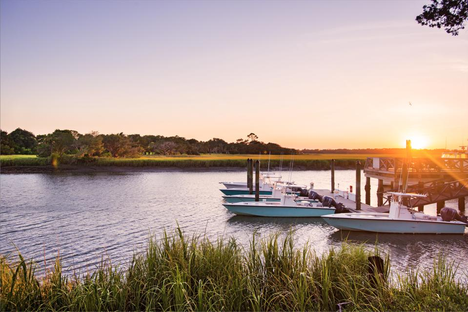 lake with boats in Georgia low country